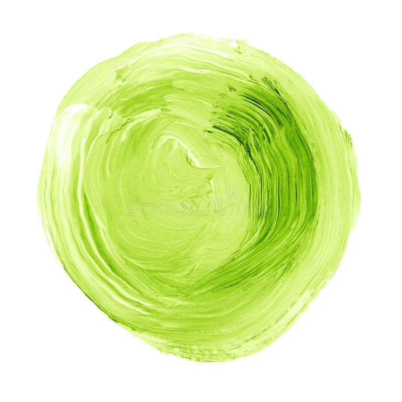 Abstrakcjonistyczna ręka malował akrylową okrąg teksturę w zielonym kolorze fotografia stock