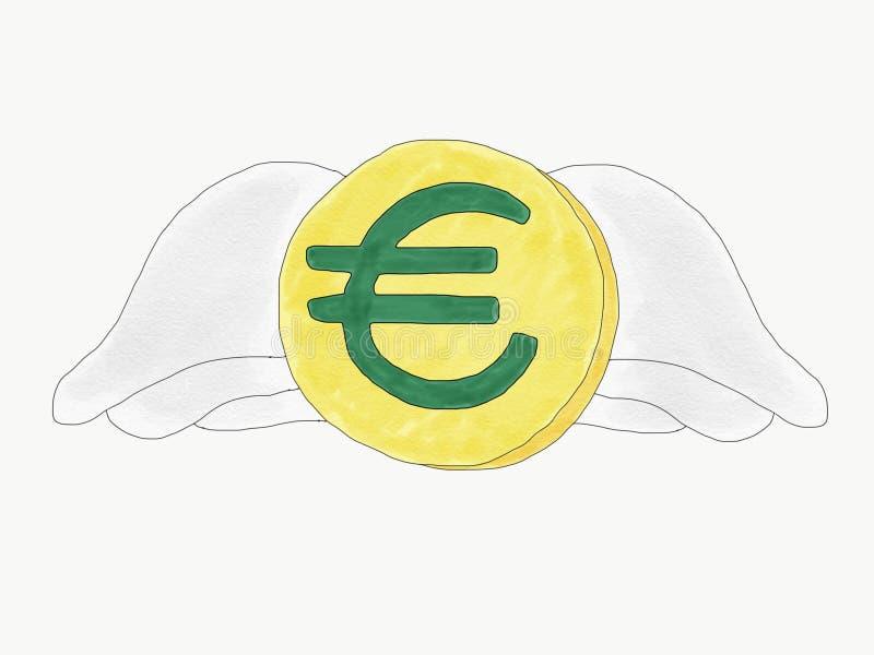 Abstrakcjonistyczna ręka remisu doodle euro moneta z skrzydłami odizolowywa, słaby euro waluty pojęcie, ilustracja, kopii przestr ilustracja wektor