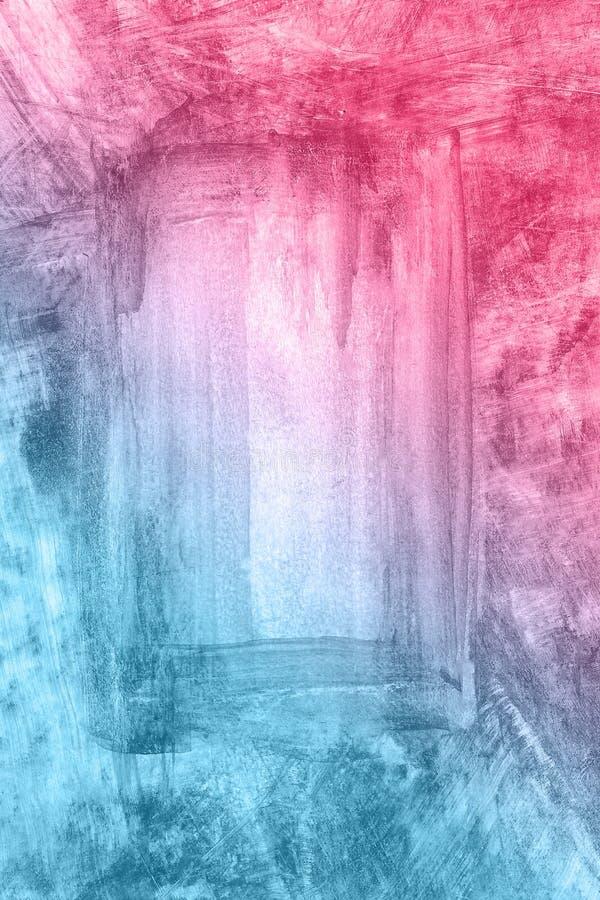 Abstrakcjonistyczna ręka rysujący błękitny i czerwony akwareli tło, raster ilustracja zdjęcie stock
