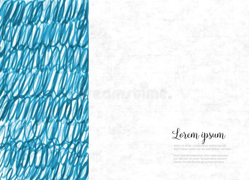 Abstrakcjonistyczna ręka rysujący błękitny tło z miejscem dla twój teksta ilustracji