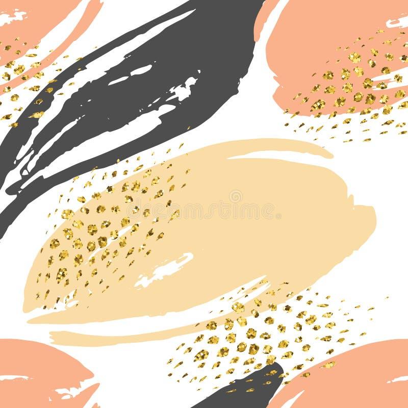 Abstrakcjonistyczna ręka rysujący bezszwowy powtórka wzór ilustracja wektor