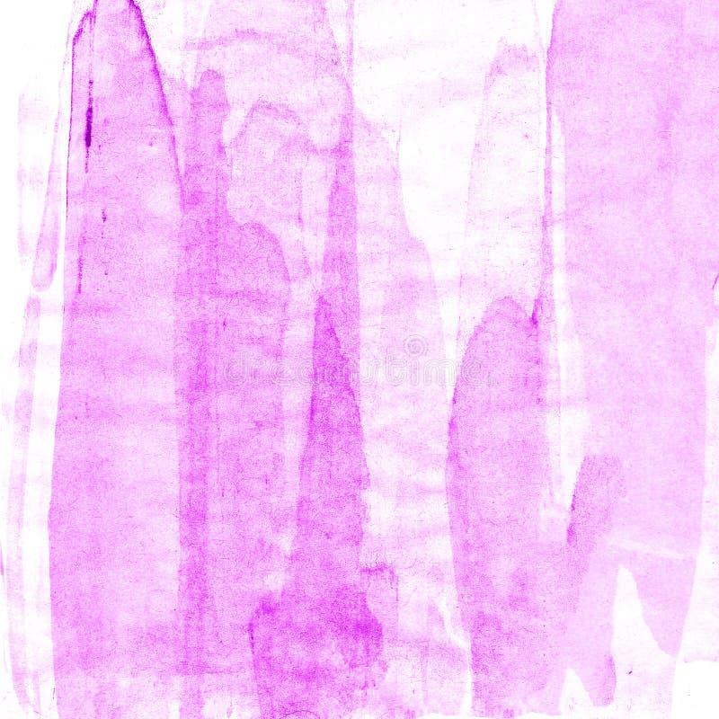 Abstrakcjonistyczna ręka rysujący farby akwareli purpurowy tło, raster illust zdjęcie stock