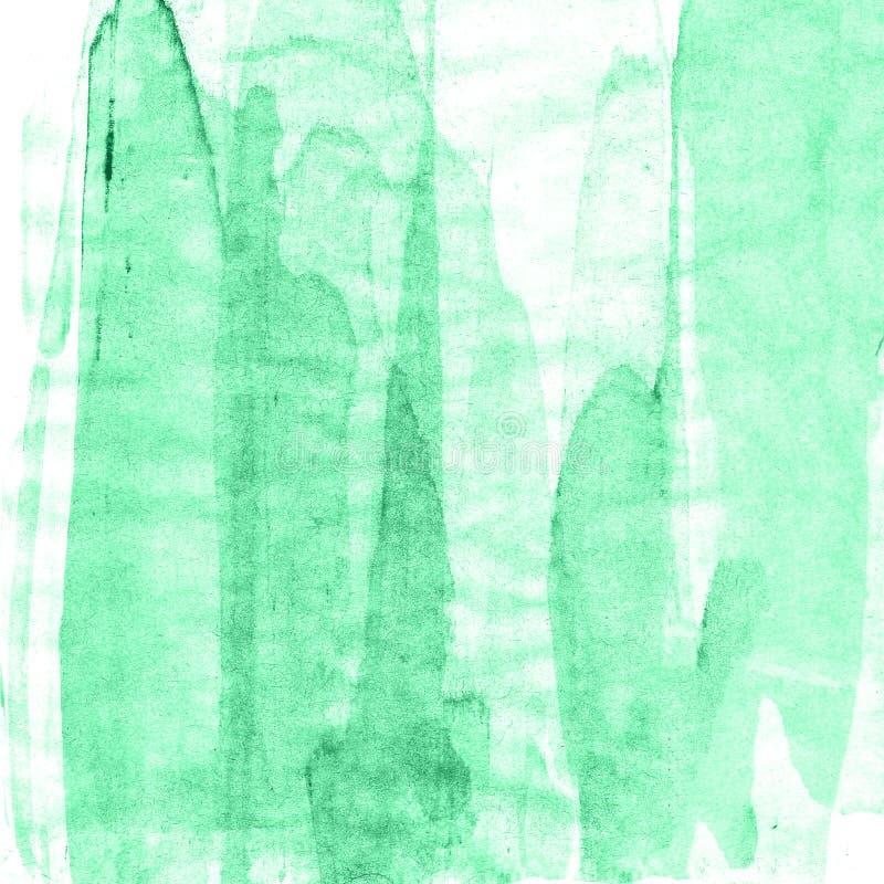Abstrakcjonistyczna ręka rysujący farby akwareli zielony tło, raster illust fotografia stock
