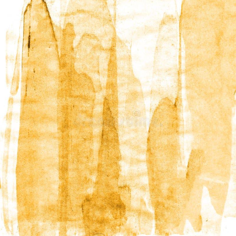 Abstrakcjonistyczna ręka rysujący farby pomarańczowy i brown akwareli tło, raster illust fotografia royalty free