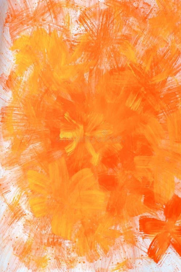Abstrakcjonistyczna ręka rysujący farby tło: czerwoni kwieciści wzory na pomarańczowym tle Wielki dla sztuki tekstury, grunge pro fotografia royalty free