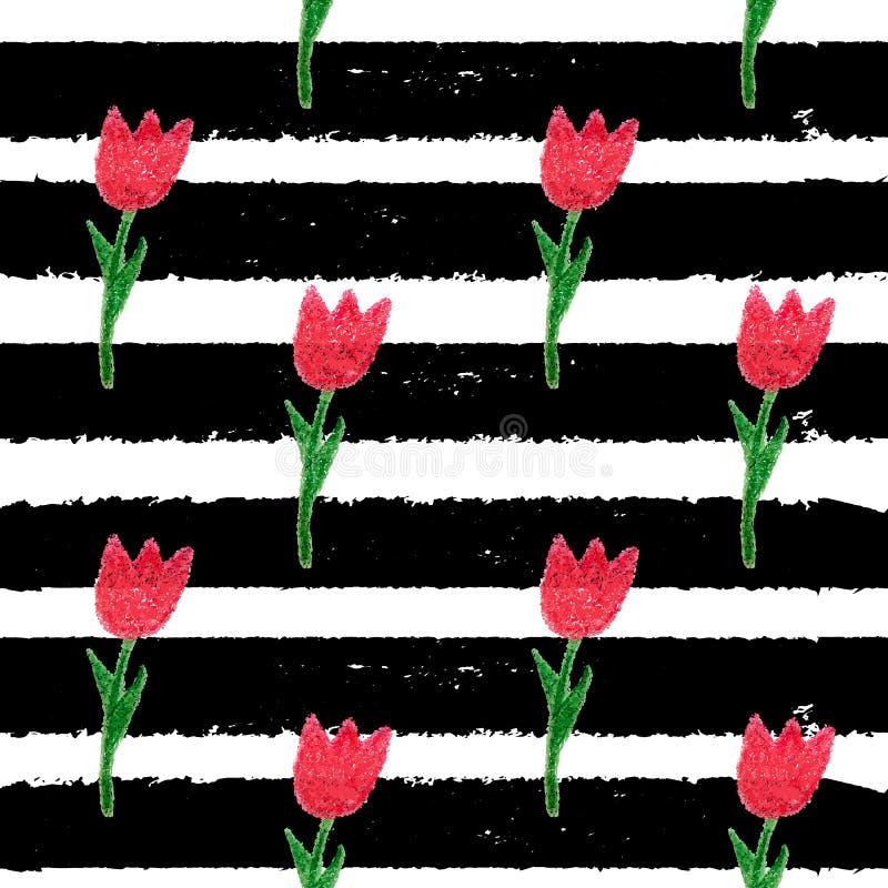 Abstrakcjonistyczna ręka Rysujący kwiatu Bezszwowy deseniowy tło ilustracja wektor