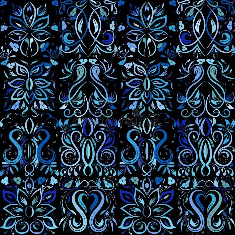 Abstrakcjonistyczna ręka rysujący kwiecisty wzór z lelują kwitnie ilustracja wektor