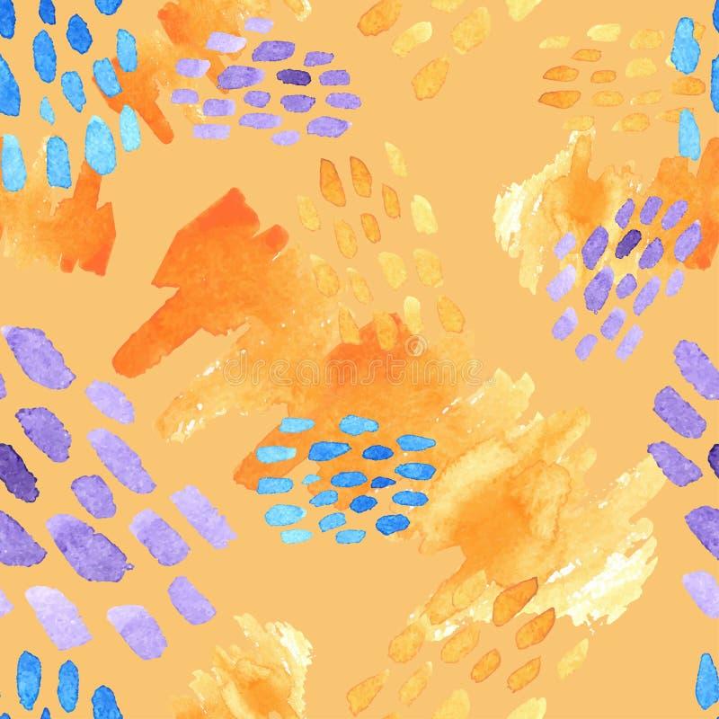 Abstrakcjonistyczna ręka rysujący muśnięć uderzenia i farb pluśnięć tekstury, bezszwowy akwarela wzór royalty ilustracja
