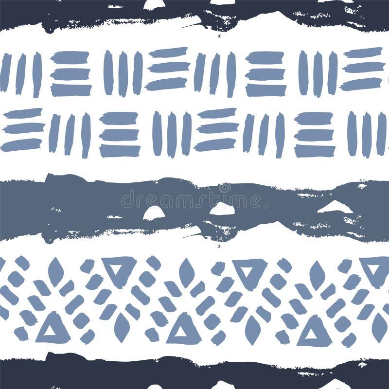 Abstrakcjonistyczna ręka rysujący prosty wektorowy etniczny bezszwowy deseniowy textur ilustracja wektor