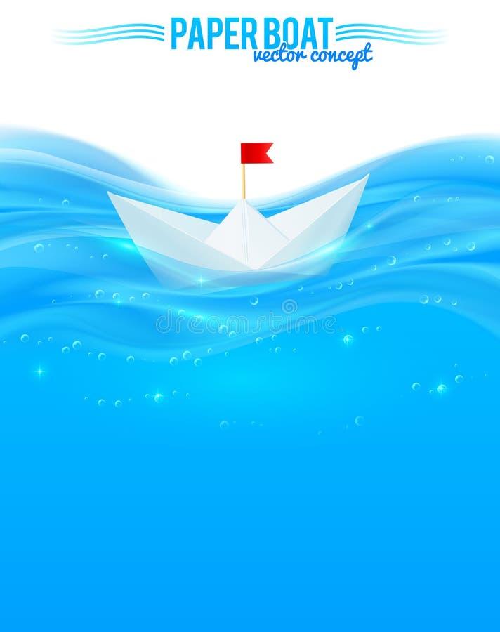 Abstrakcjonistyczna realistyczna woda z papierową łodzią ilustracja wektor