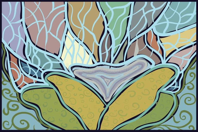 Abstrakcjonistyczna rysunkowa wiosna zielenieje błękitnych wod rośliny ilustracji