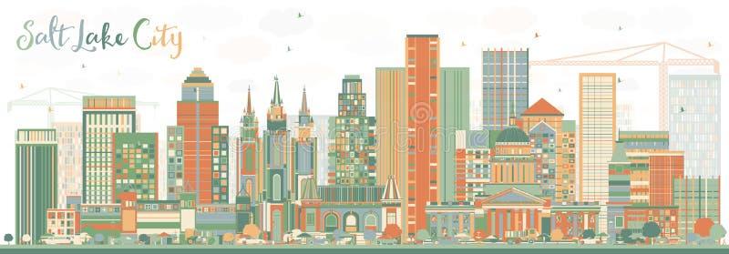 Abstrakcjonistyczna Salt Lake City linia horyzontu z kolorów budynkami royalty ilustracja