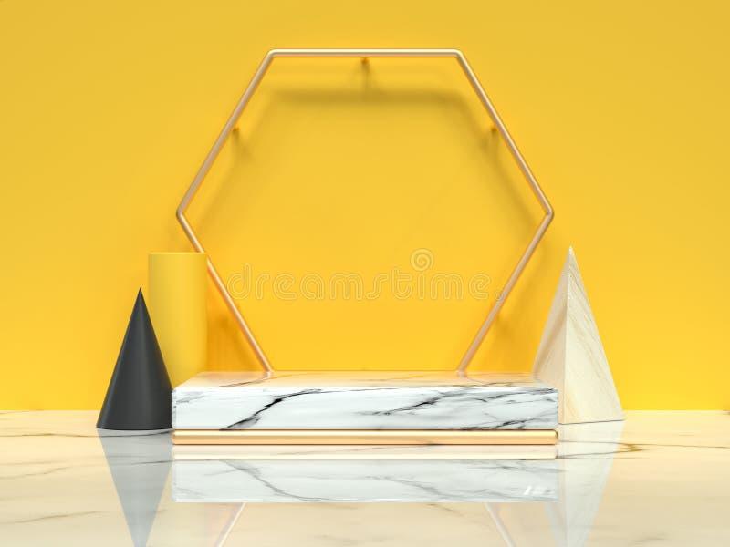 abstrakcjonistyczna scena 3d odpłaca się kolor żółtego ścienna bielu marmuru podłogi grupa geometryczny kształta życie wciąż royalty ilustracja