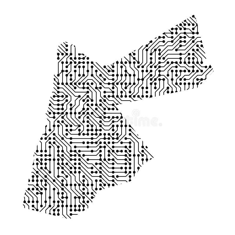 Abstrakcjonistyczna schematyczna mapa Jordania od czarnej drukowanej deski, c ilustracji