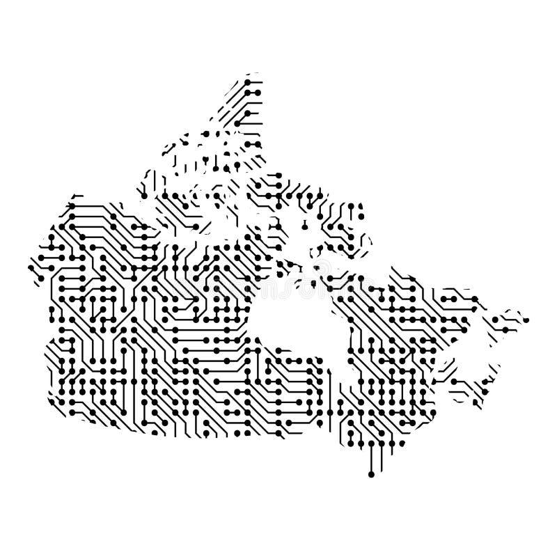 Abstrakcjonistyczna schematyczna mapa Kanada od czarnej drukowanej deski, c ilustracja wektor