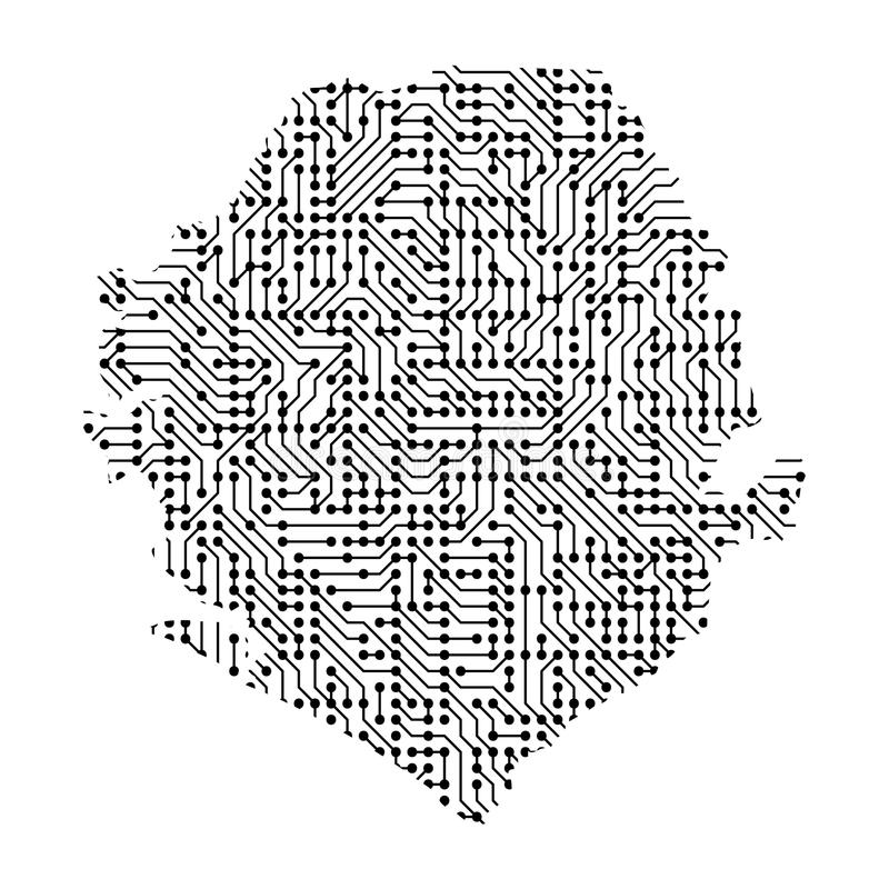 Abstrakcjonistyczna schematyczna mapa Sierra Leone od czerni drukował bo royalty ilustracja