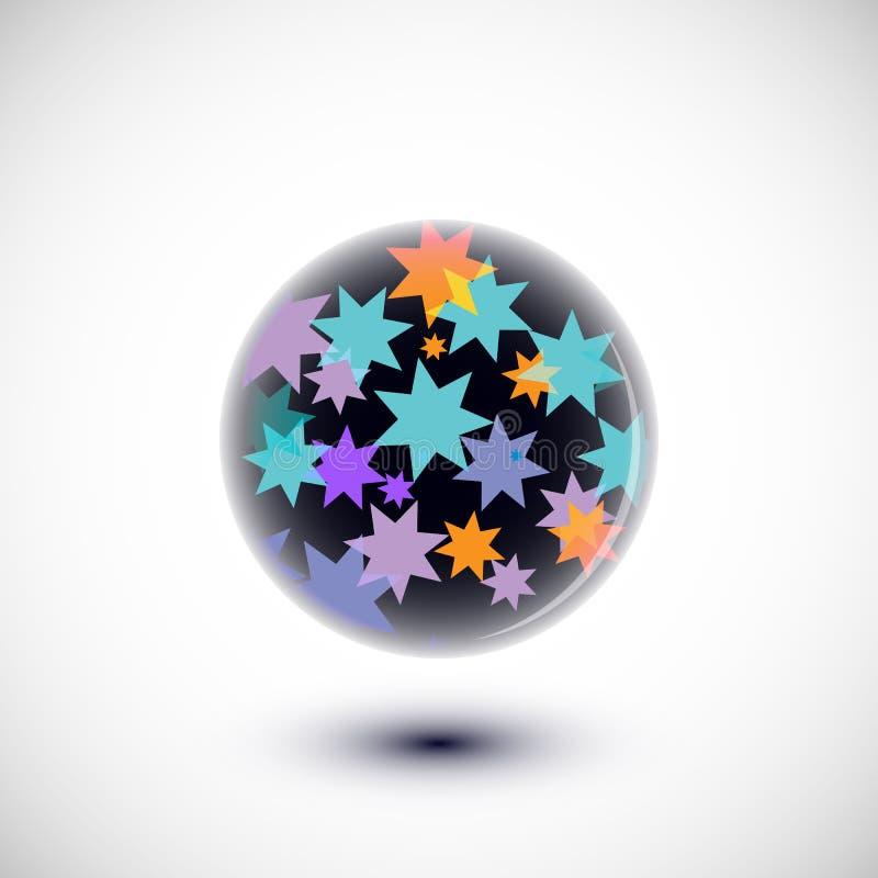 Abstrakcjonistyczna sfera z wieloskładnikowymi elementami inside ilustracja wektor