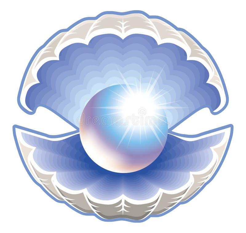 Łuska z perełkową ilustracją ilustracja wektor