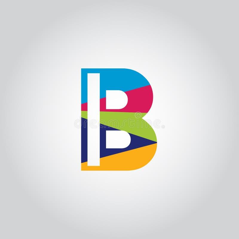 Abstrakcjonistyczna Stubarwna b listu loga projekta wektoru ikona royalty ilustracja
