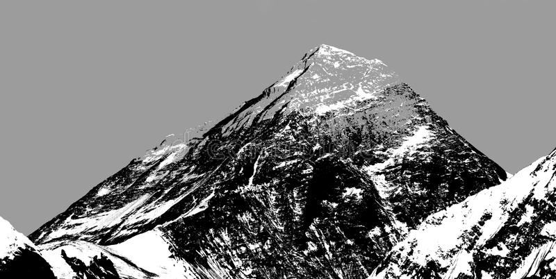 Abstrakcjonistyczna sylwetka góra Everest od Gokyo doliny zdjęcie stock
