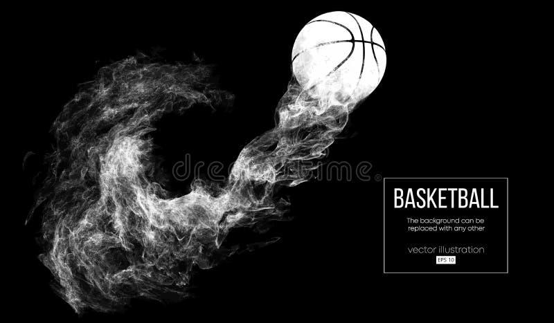 Abstrakcjonistyczna sylwetka koszykówki piłka na ciemnego czerni tle Gracz koszykówki piłka lata Wektorowy Illustartion ilustracja wektor