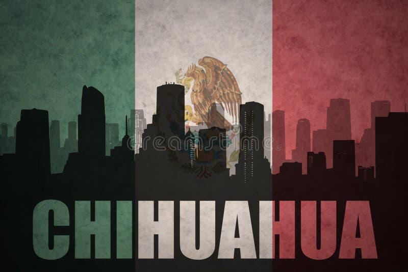 Abstrakcjonistyczna sylwetka miasto z teksta chihuahua przy rocznik meksykańską flaga royalty ilustracja