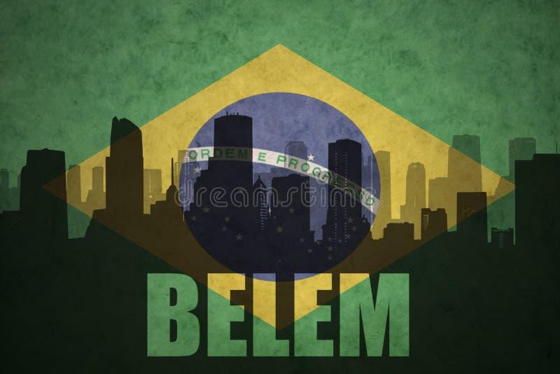 Abstrakcjonistyczna sylwetka miasto z tekstem Belem przy rocznik brazylijską flaga ilustracja wektor
