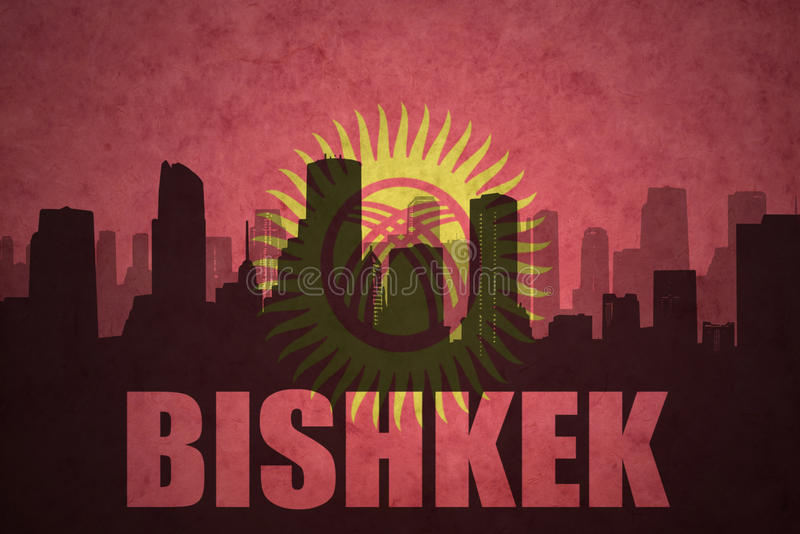 abstrakcjonistyczna sylwetka miasto z tekstem Bishkek przy rocznika Kyrgyzstan flaga ilustracja wektor