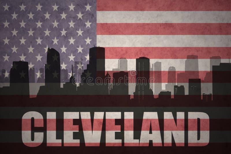 Abstrakcjonistyczna sylwetka miasto z tekstem Cleveland przy rocznik flaga amerykańską ilustracja wektor