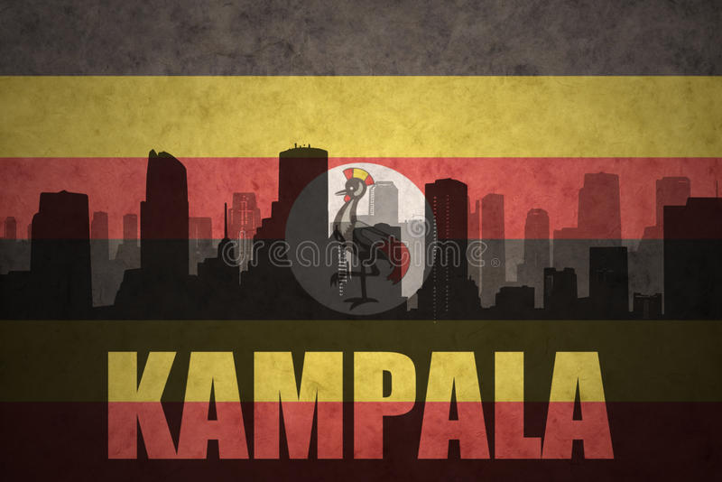 Abstrakcjonistyczna sylwetka miasto z tekstem Kampala przy rocznika ugandyjczyka flaga royalty ilustracja
