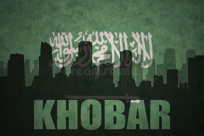 abstrakcjonistyczna sylwetka miasto z tekstem Khobar przy rocznika saudyjczyka Arabia flaga royalty ilustracja