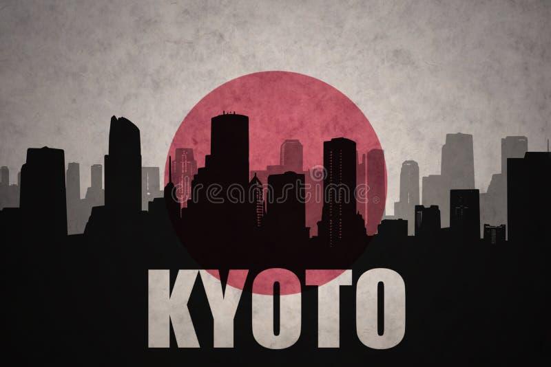 abstrakcjonistyczna sylwetka miasto z tekstem Kyoto przy rocznika japończyka flaga ilustracja wektor