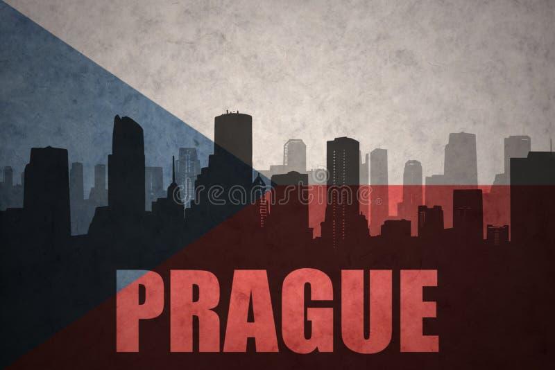 Abstrakcjonistyczna sylwetka miasto z tekstem Praga przy rocznika republika czech flaga royalty ilustracja