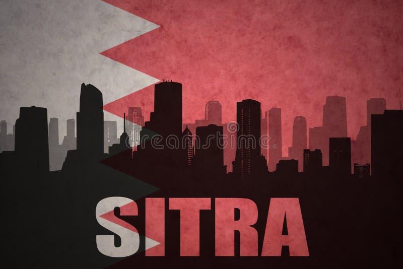 Abstrakcjonistyczna sylwetka miasto z tekstem Sitra przy rocznika Bahrain flaga zdjęcia stock