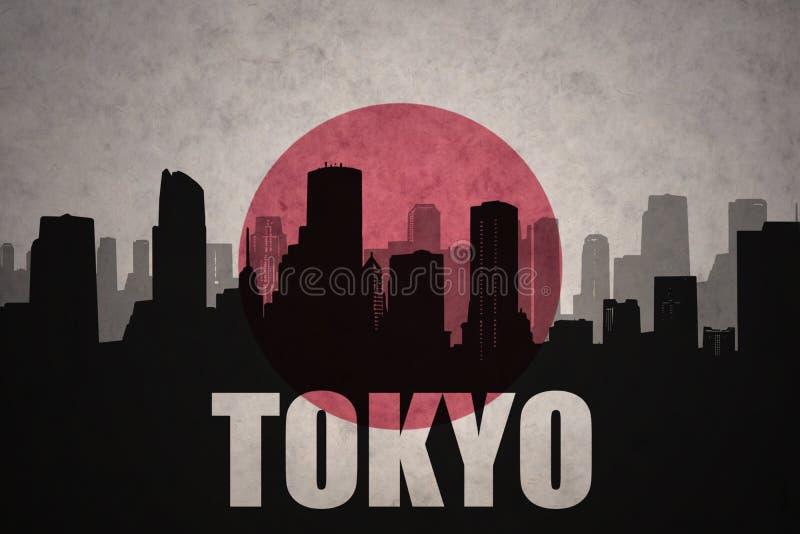 Abstrakcjonistyczna sylwetka miasto z tekstem Tokio przy rocznika japończyka flaga royalty ilustracja