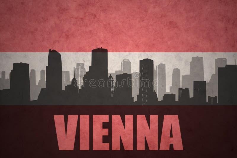 Abstrakcjonistyczna sylwetka miasto z tekstem Wiedeń przy rocznik austriacką flaga ilustracja wektor