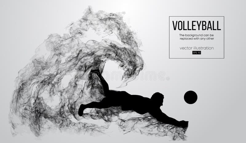Abstrakcjonistyczna sylwetka siatkówka gracza mężczyzna na białym tle od cząsteczek również zwrócić corel ilustracji wektora