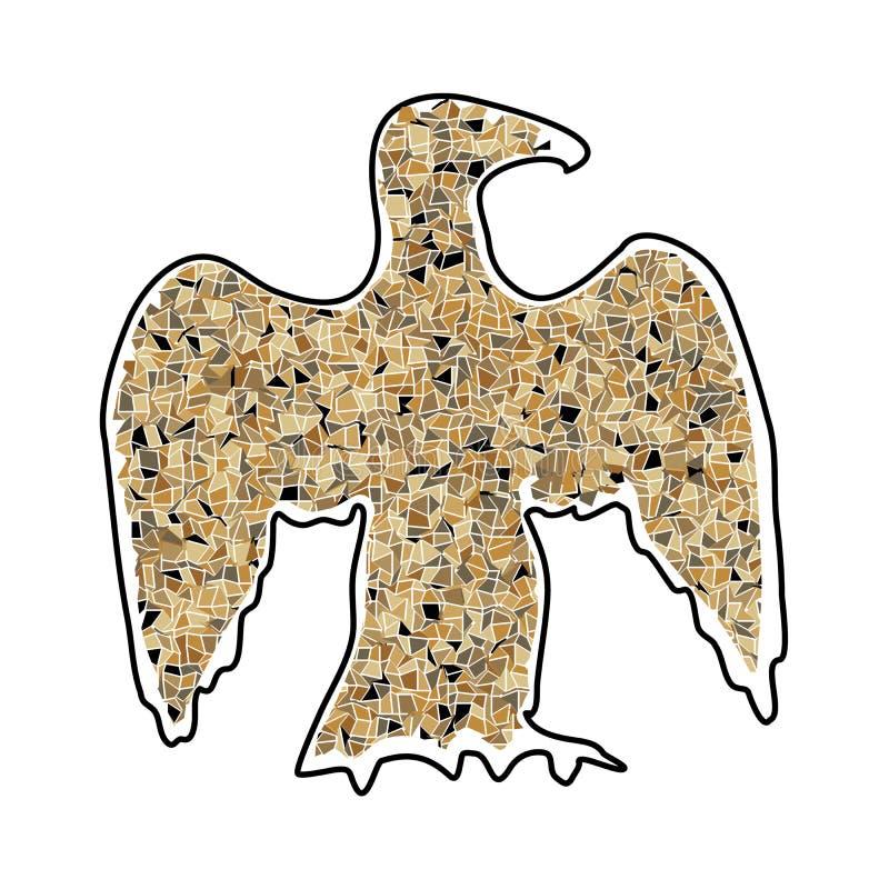 Abstrakcjonistyczna sylwetka wielki orzeł mozaiki brąz ilustracji