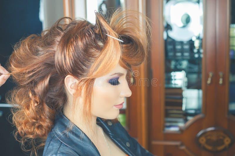 abstrakcjonistyczna sztandaru mody fryzury ilustracja kobieta z kijem włosy przyczepia barów nożyce zdjęcia royalty free