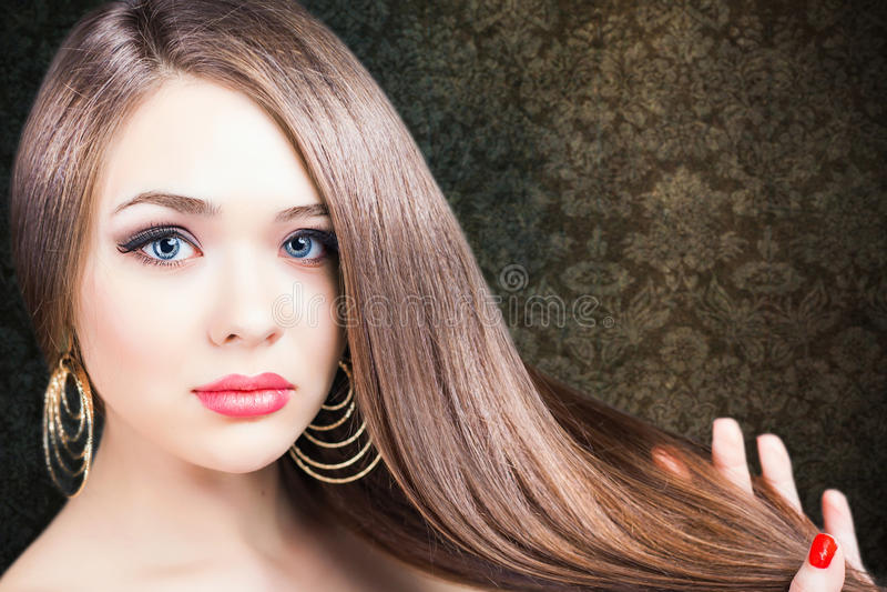 abstrakcjonistyczna sztandaru mody fryzury ilustracja pięknego włosy długa prosta kobieta obraz stock