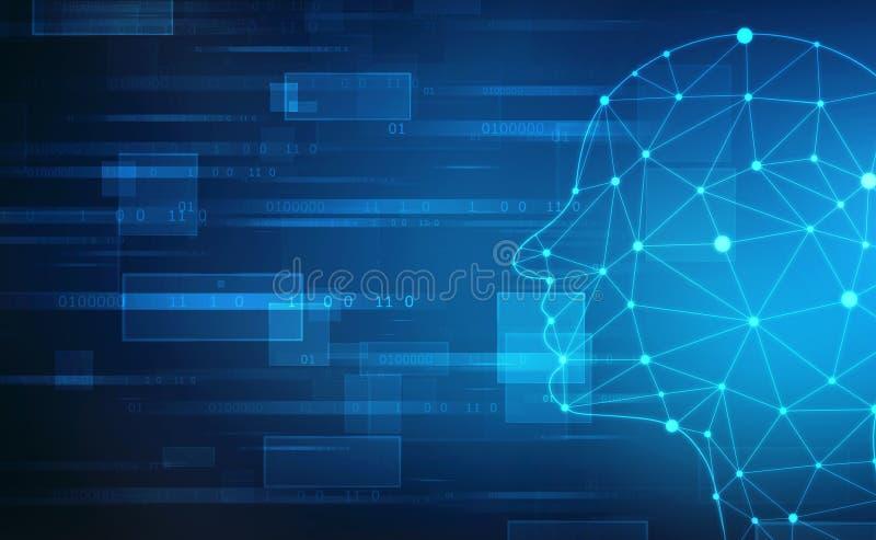Abstrakcjonistyczna sztuczna inteligencja Technologii sieci abstrakcjonistyczny tło Ludzkiej głowy kontur z Binarnymi kodami fotografia stock