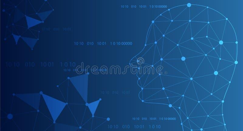 Abstrakcjonistyczna sztuczna inteligencja Technologii sieci tło Wirtualny pojęcie, futurystyczny abstrakcjonistyczny tło również  royalty ilustracja