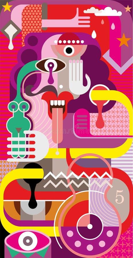 Abstrakcjonistyczna sztuka - wektorowa ilustracja ilustracji