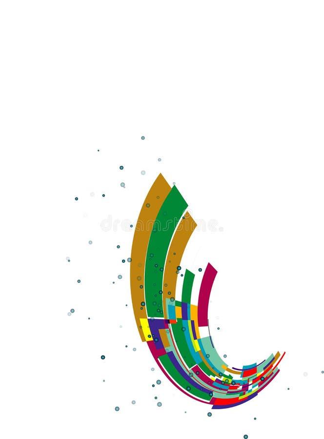 Abstrakcjonistyczna tęczy fala na białym tle, stubarwny projekta element ilustracji