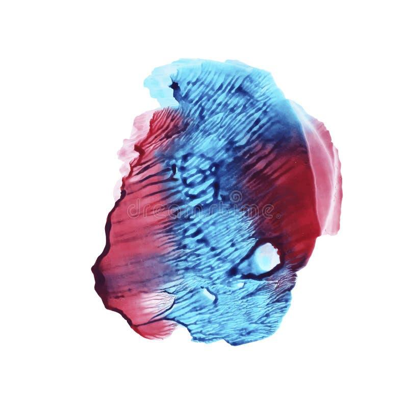 abstrakcjonistyczna tła błękitny czerwieni akwarela Wektorowa ręka malujący tło royalty ilustracja