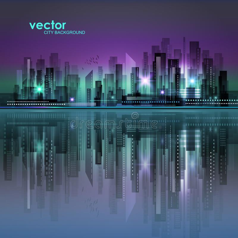 abstrakcjonistyczna tła miasta noc sylwetka zdjęcia stock