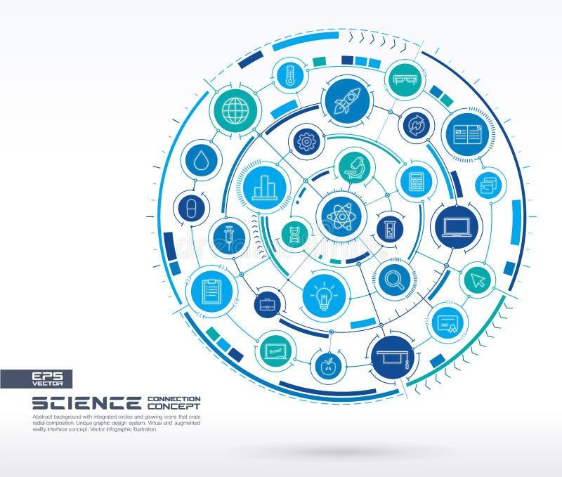 abstrakcjonistyczna tła nauki technologia Digital łączy system z zintegrowanymi okręgami, rozjarzonymi cienieje kreskowe ikony ilustracja wektor