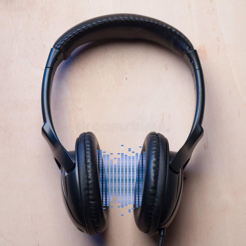 abstrakcjonistyczna tła wyrównywacza hełmofonów ilustracja odizolowywający wektor przyrząd dla audio playbacku, obrazy stock