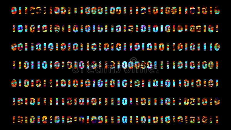 Abstrakcjonistyczna tło animacja z binarnymi cyframi ilustracja wektor