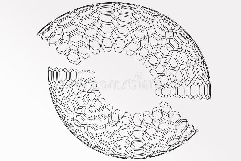 Abstrakcjonistyczna tło baza na wireframe kształcie ilustracja wektor